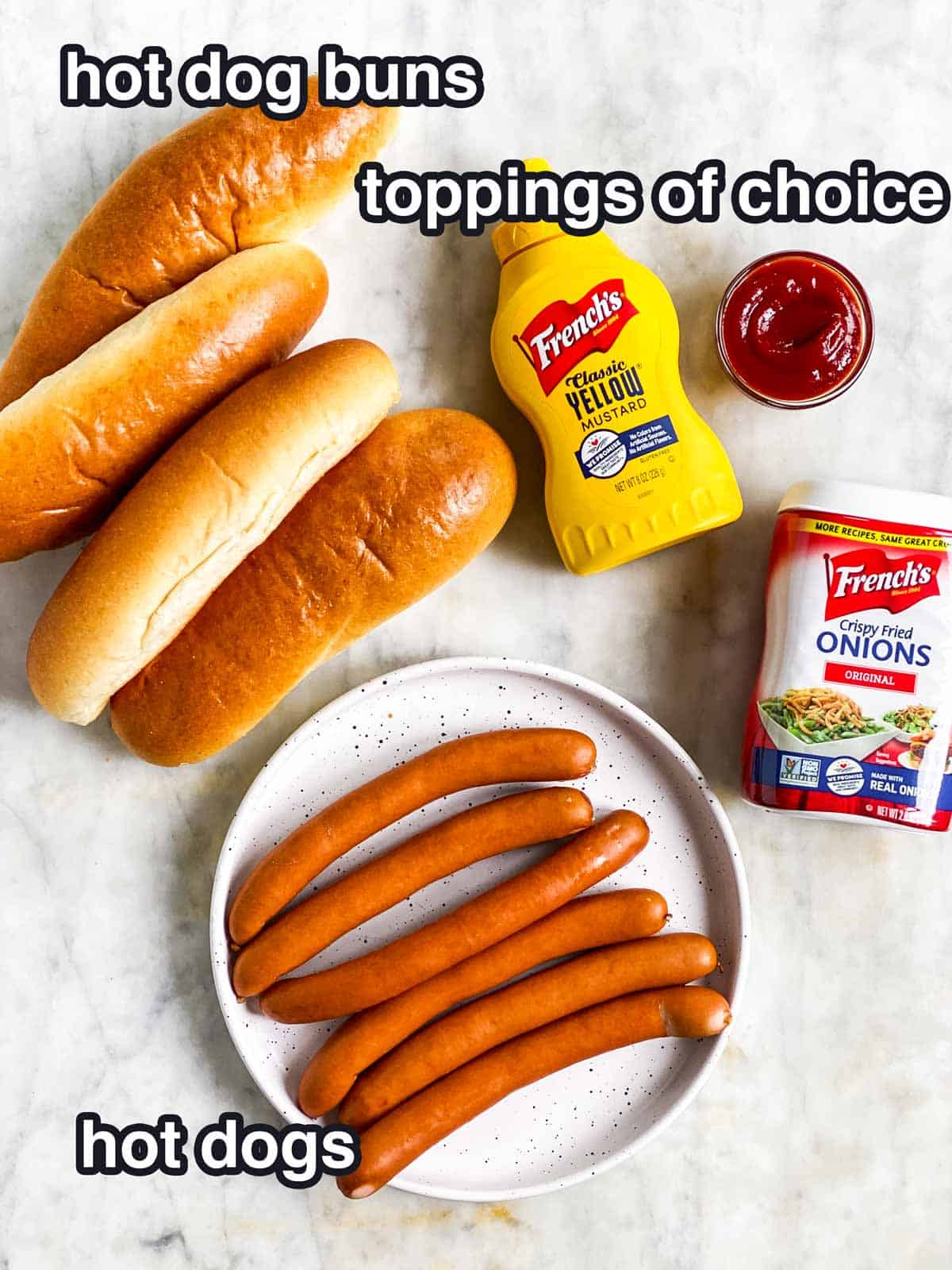 ingredients for air fryer hot dogs with text labels