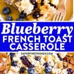 Blueberry French Toast Casserole Image Pin 1