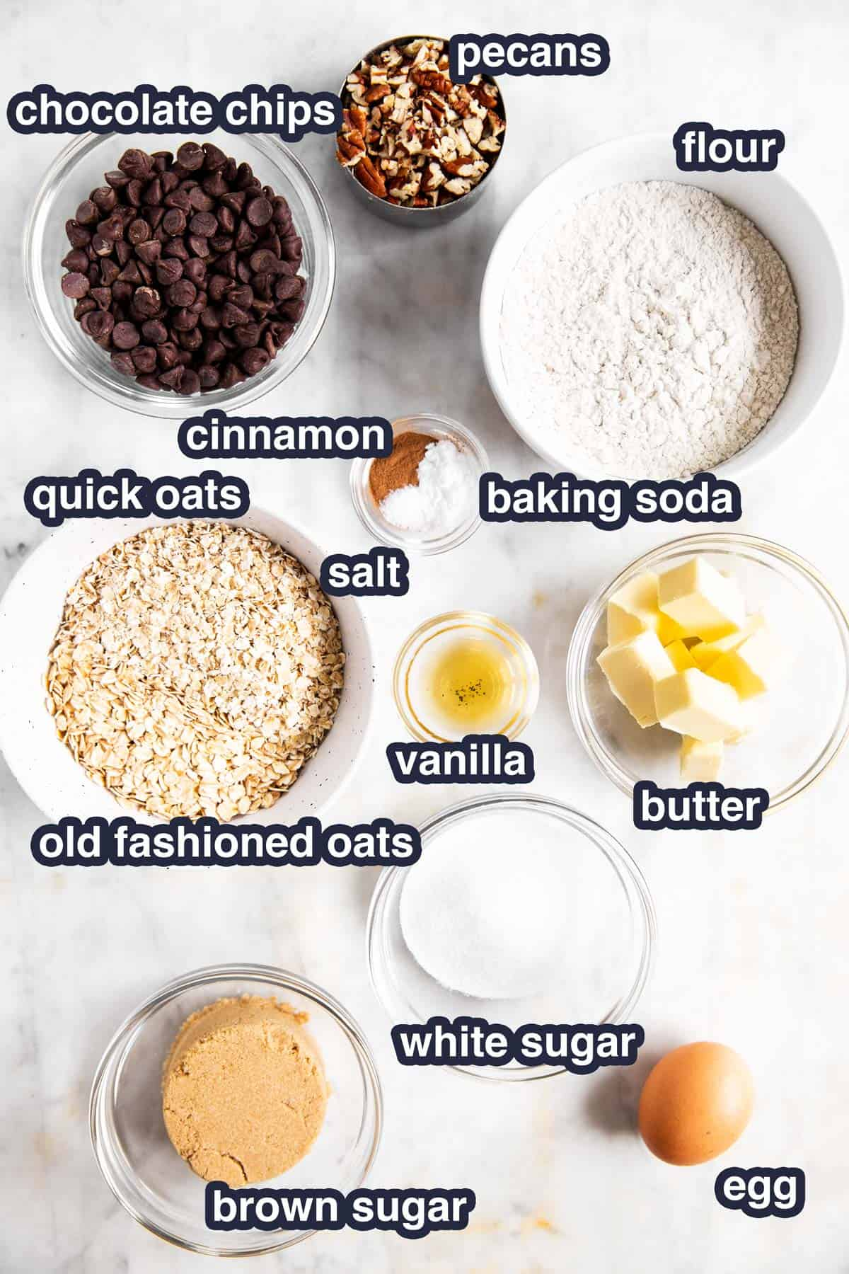 ingredients for chocolate chip oatmeal cookies with text labels