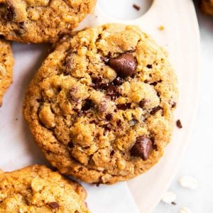 overhead view of chocolate chip oatmeal cookies on serving platter