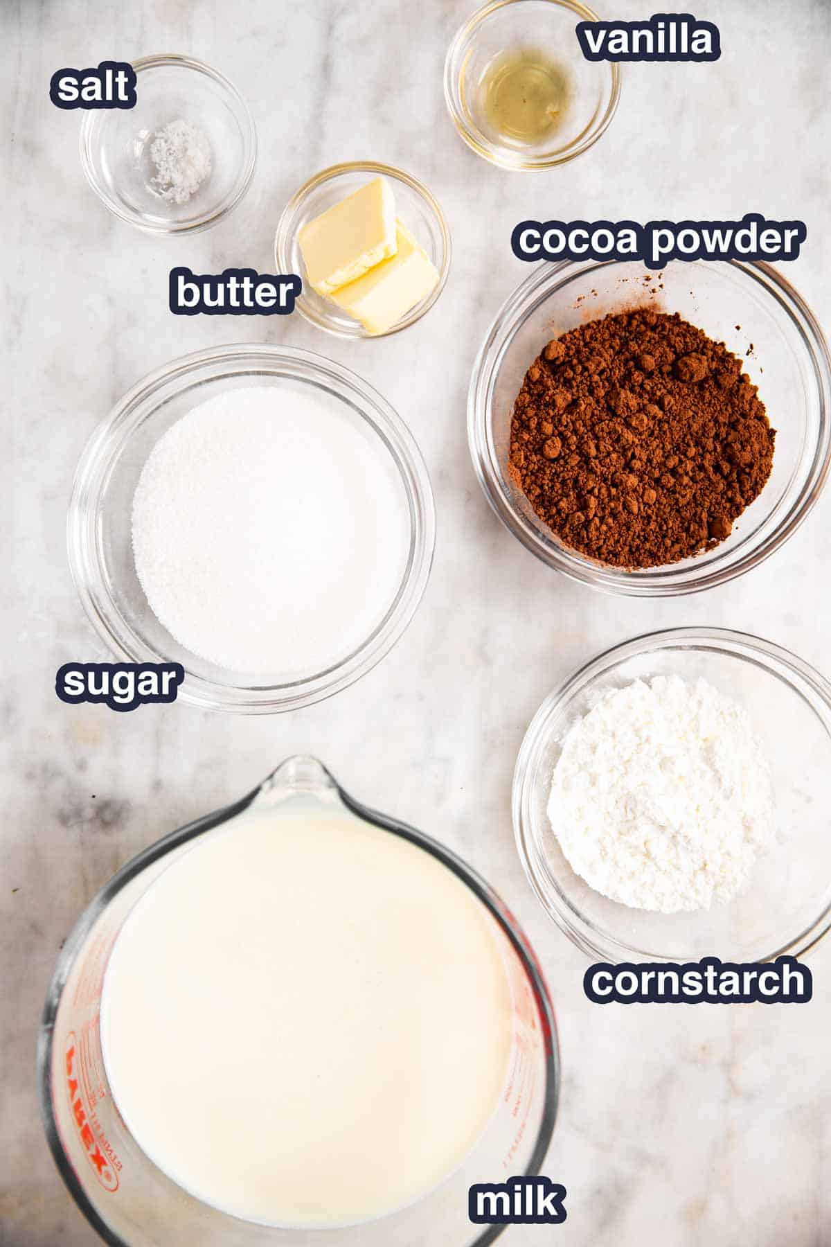 ingredients for homemade chocolate pudding with text labels