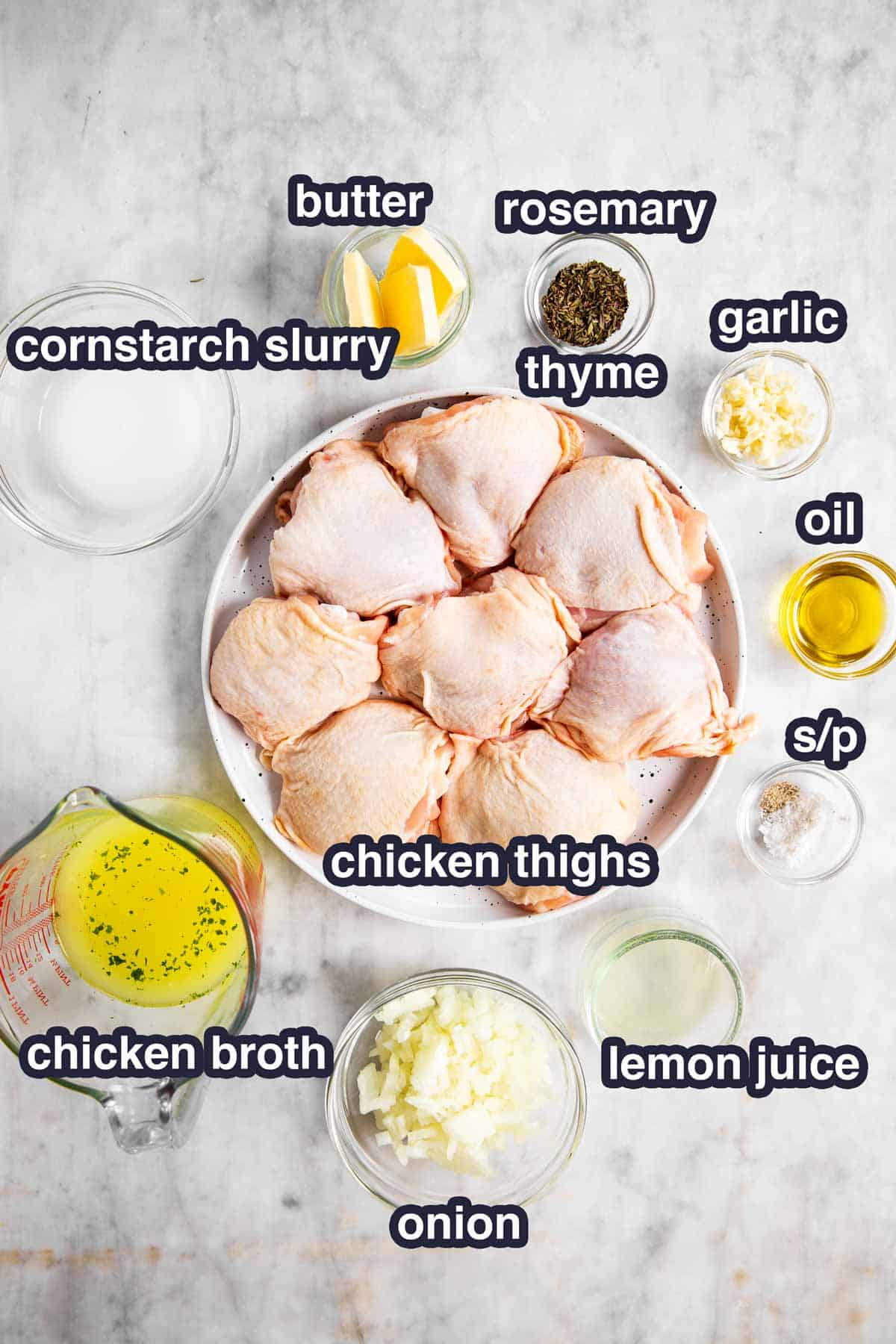 ingredients for instant pot lemon chicken with text labels