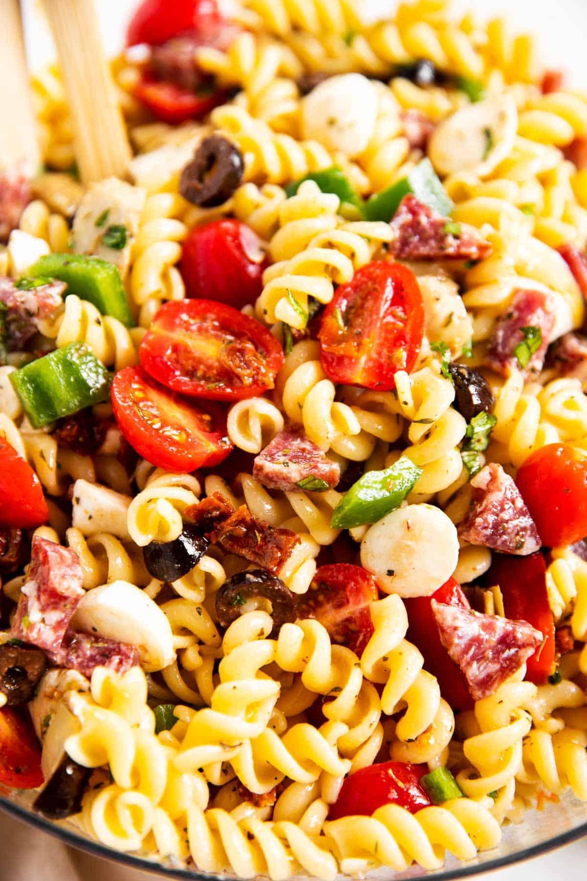 close up photo of Italian pasta salad