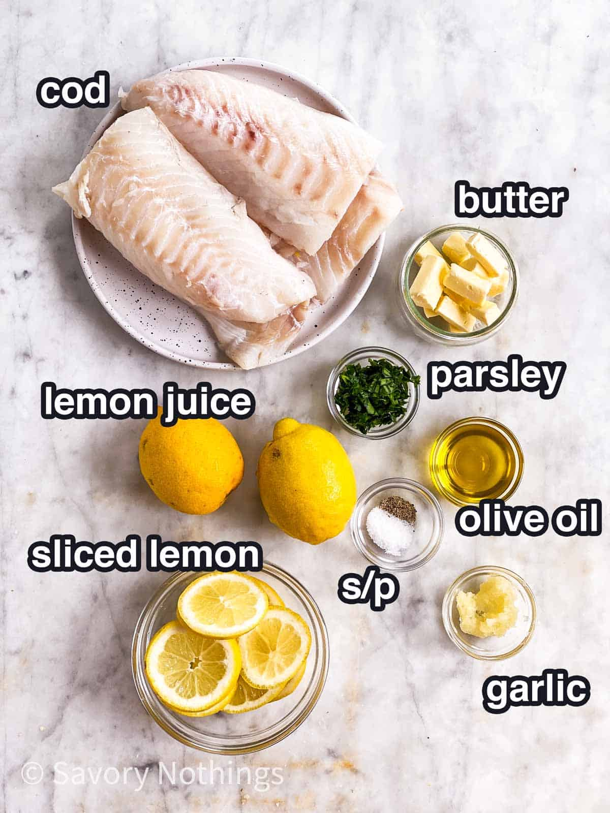 ingredients for garlic butter lemon baked cod with text labels
