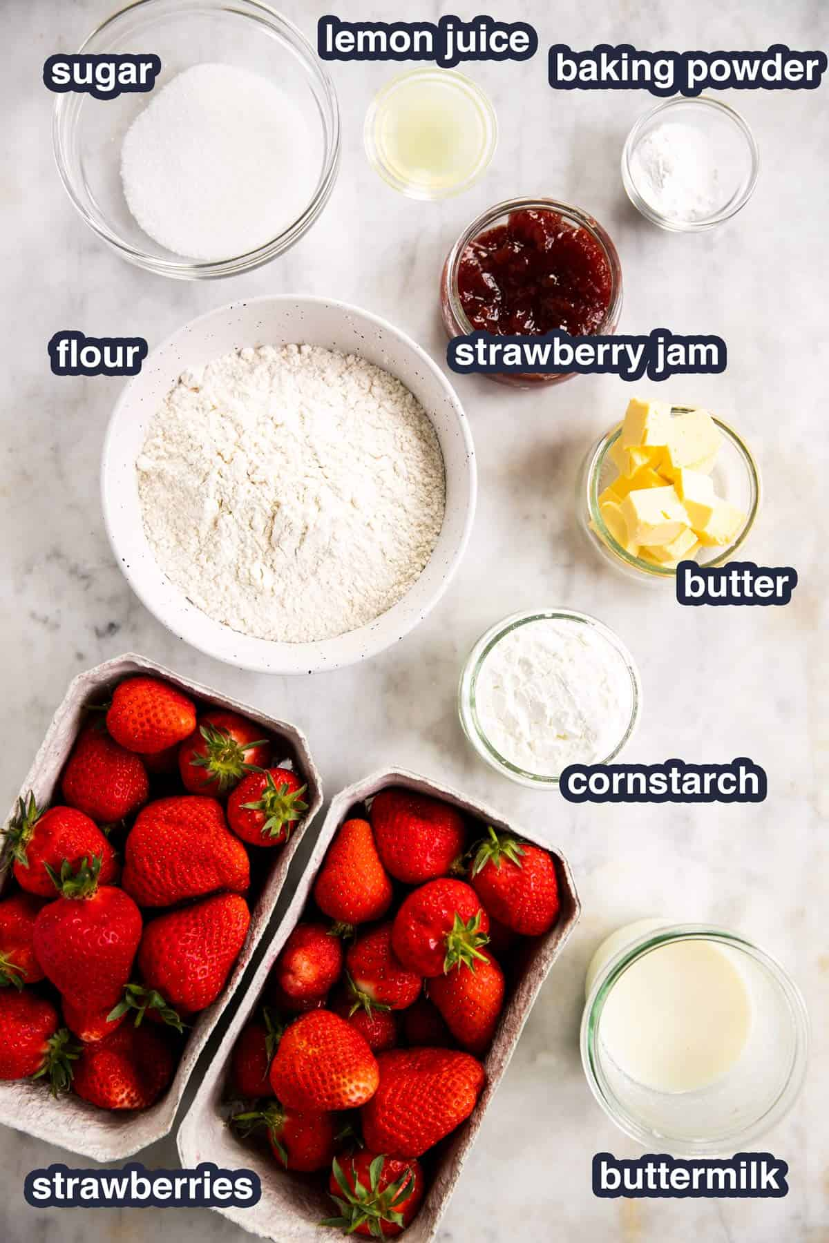 ingredients for strawberry cobbler with text labels