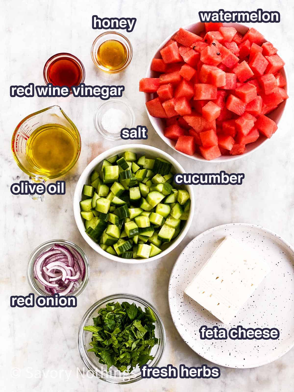ingredients for watermelon salad with text labels