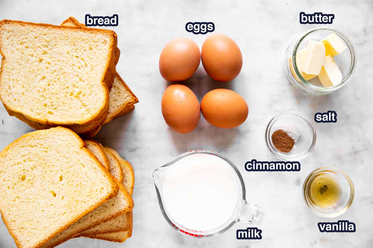 ingredients for easy French toast with text labels