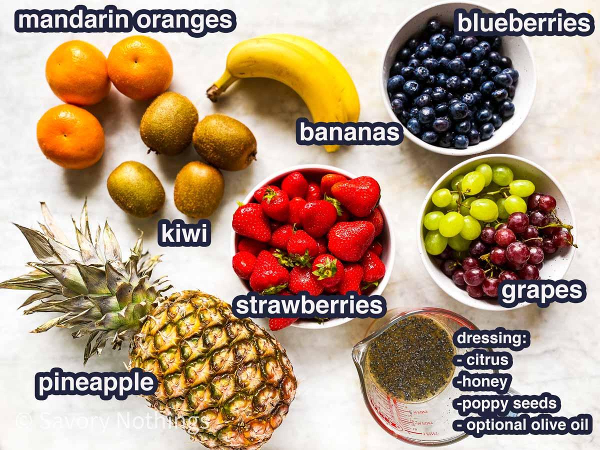 összetevők friss gyümölcssalátához szöveges címkékkel