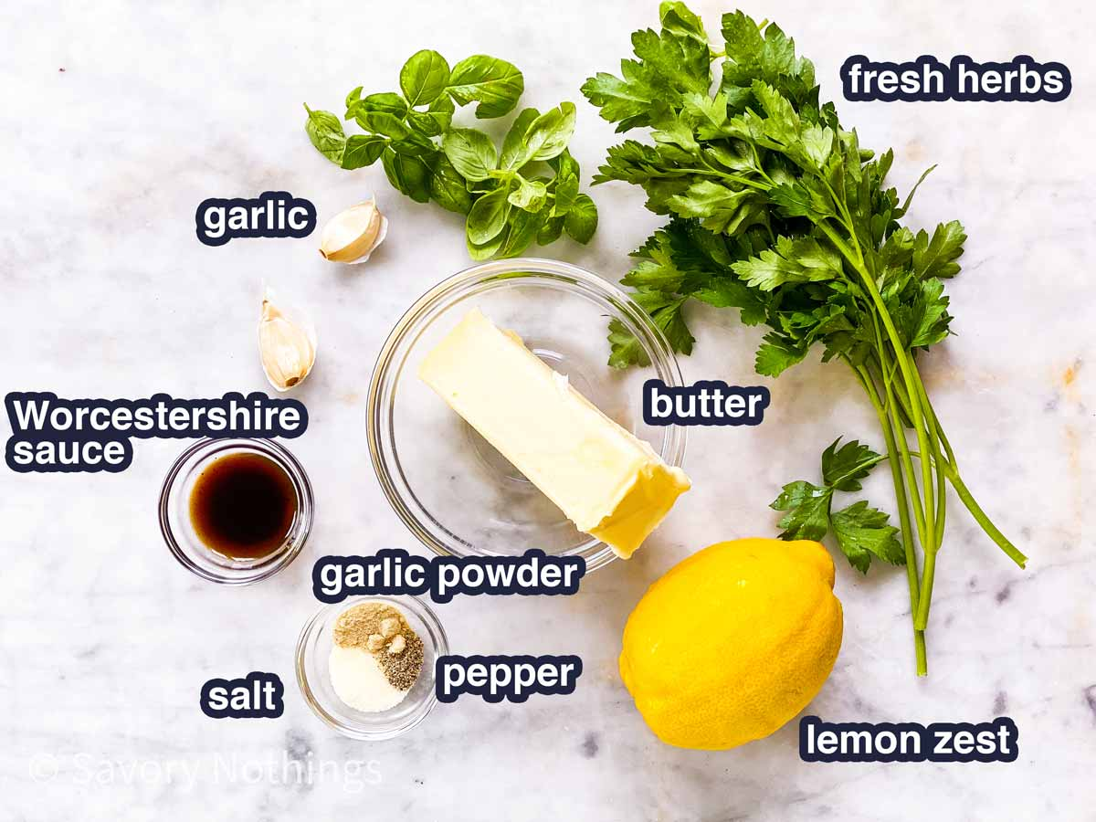 ingredients for garlic herb butter with text labels