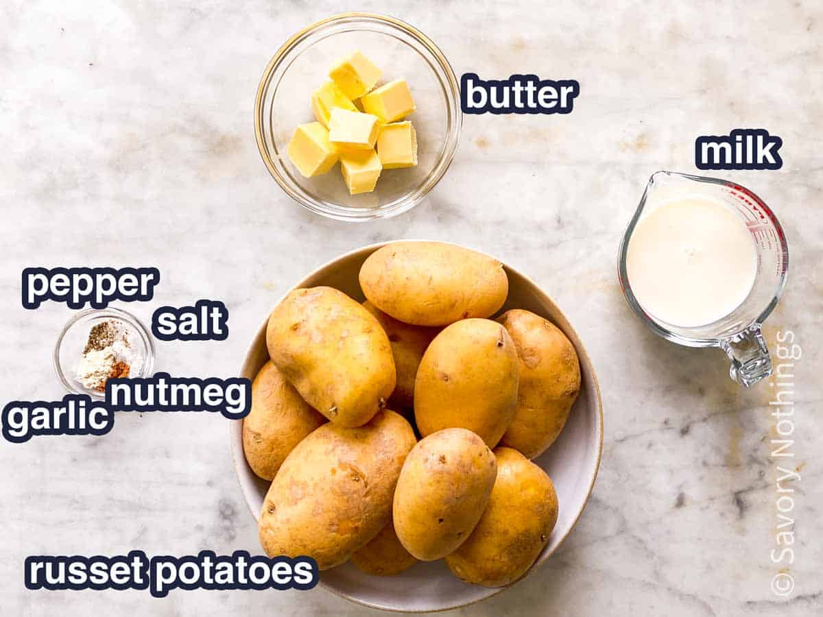 ingredients for instant pot mashed potatoes with text labels