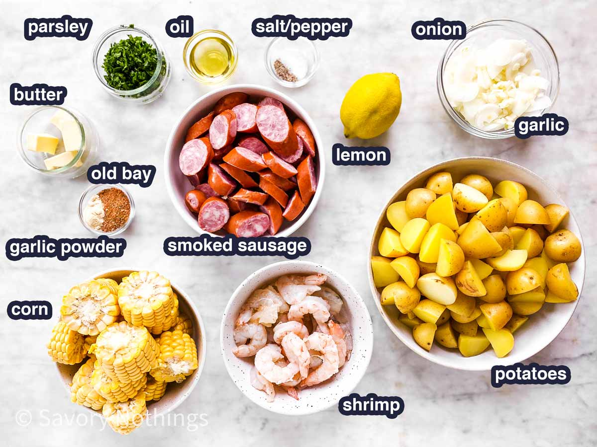 ingredients for shrimp boil foil packets with text labels