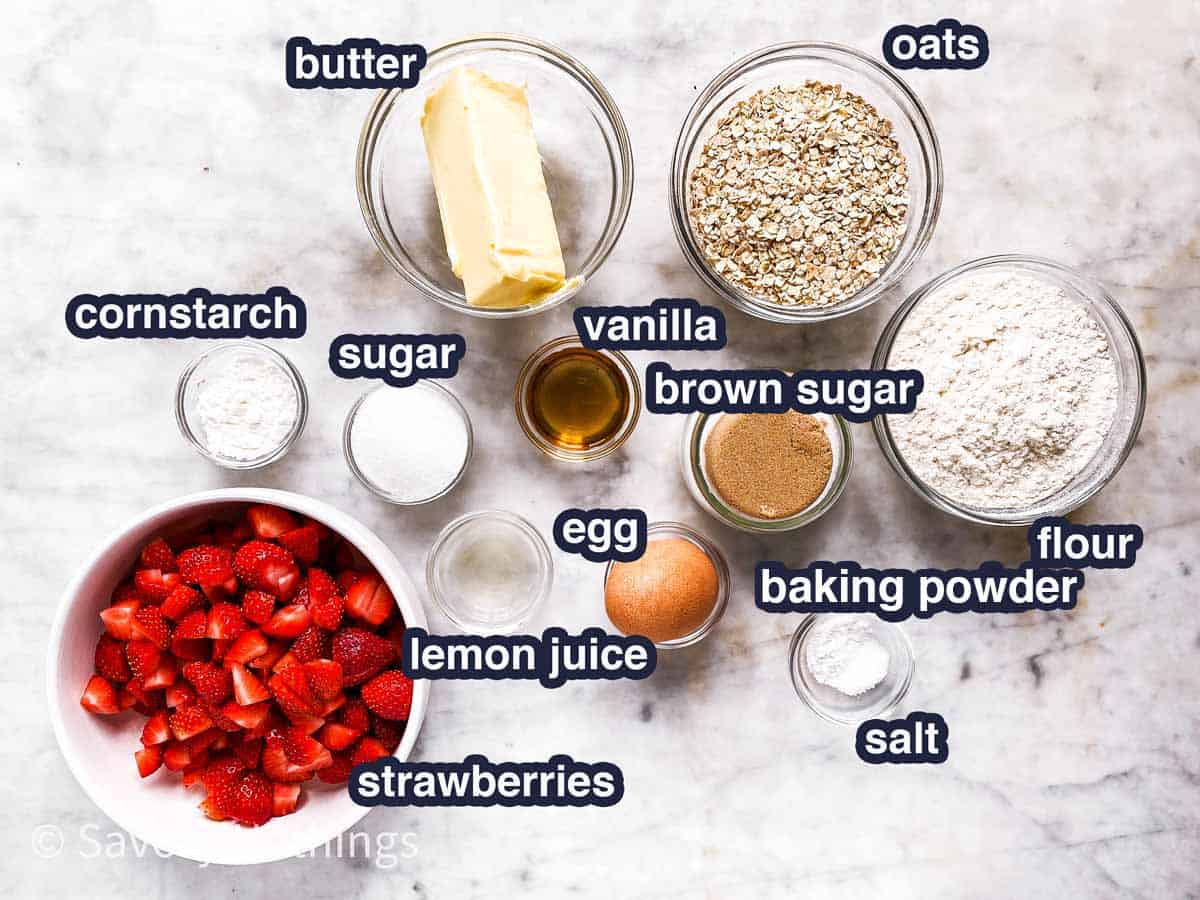 ingredients for strawberry oatmeal bars with text labels