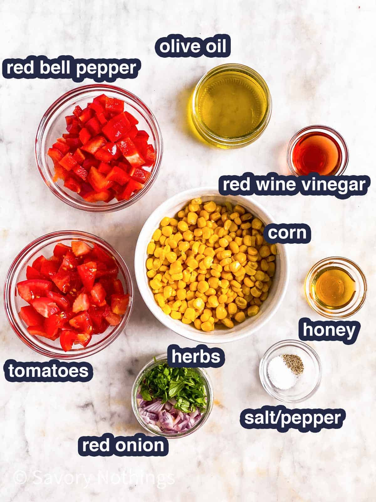 ingredients for summer corn salad with text labels