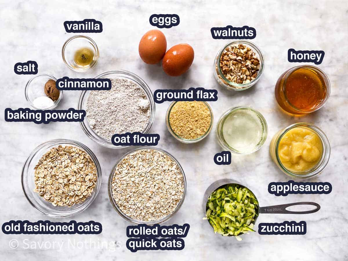 ingredients for zucchini bread breakfast cookies with text labels